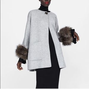 Zara Wool Blend Coat With Faux Fur Cuffs New XL